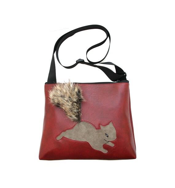 Squirrel, fake fur, dark red, vegan, vegan leather, large, cross body bag