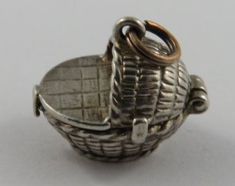 Baby Moses Basket Mechanical Silver Vintage Charm For Bracelet