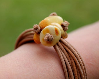 Leather Bracelet White Amber Organic Zen Jewelry Earthy Color Brown Tan Yellow Summer Fashion