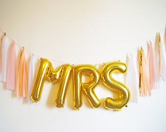 MRS gold letter balloon tassel garland blush pink peach gold