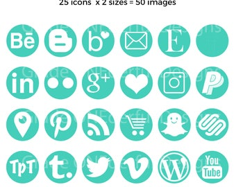 Round Social Media Icons, Green Social Icons, Large and Small Sizes, Easy to Use and Install, Instant Download, Blog Graphics, Web Design