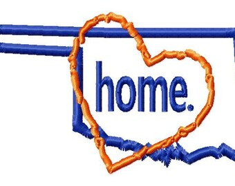 Oklahoma-Heart-home - Applique - Machine Embroidery Design - 12 Sizes