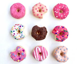 PICK A DONUT! - miniature polymer clay sculpture - tiny food - doughnut ring pendant brooch