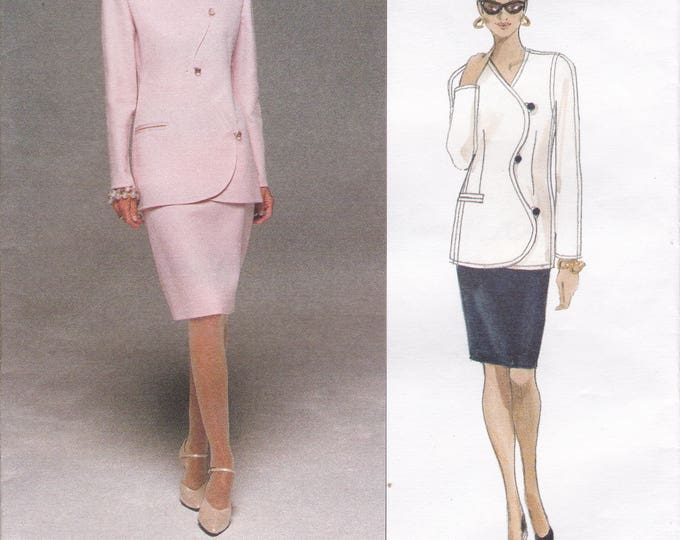Free Us Ship Sewing Pattern Vogue 1706 Retro 1990s 90's Designer Bill Blass Wavy Suit Jacket Skirt 8 10 12 Bust 31.5 32.5 34 Uncut