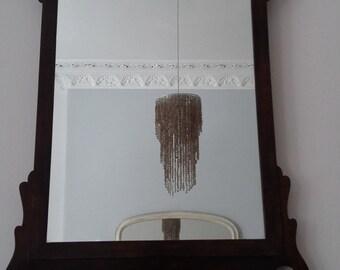 Vintage Wooden Walnut Mirror in Georgian Design