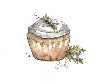 Lavender Cupcake (original watercolor)