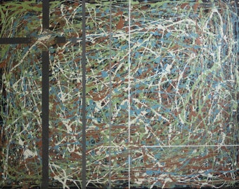 Original Signed Abstract Expressionist Gestural/Action Mixed Media- 1940s
