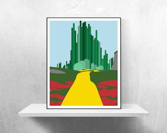 Emerald City Minimalist Poster | Wizard of Oz Wizard of Oz Poster Emerald City Oz Dorothy Yellow Brick Road Glinda Movie Poster Oz Poster