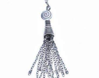 2pc antique silver finish Chain Tassel-8394c