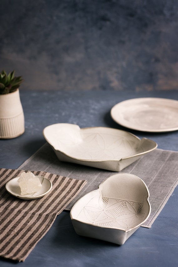White Ceramic Plate Set Ceramic Serving platter Ceramic nesting set White serving dishModern Serving traysDecorative traysHousewarming & White Ceramic Plate Set Ceramic Serving platter Ceramic