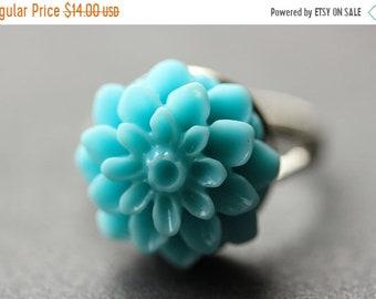 MOTHERS DAY SALE Aqua Blue Mum Flower Ring. Aqua Blue Chrysanthemum Ring. Aqua Blue Flower Ring. Aqua Blue Ring. Adjustable Ring. Handmade F
