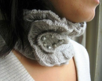 Gray Crochet Collar, Grey Tunisian Neckwarmer, Handmade Mini Scarf, Gift for Her, Mother's Day Gift, Knit Choker, Birthday gift for Women