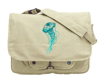 Aqua Marine - Jellyfish Embroidered Canvas Messenger Bag