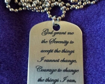 Special Order for Jason - Serenity Prayer Stainless Steel Dog Tag Necklace