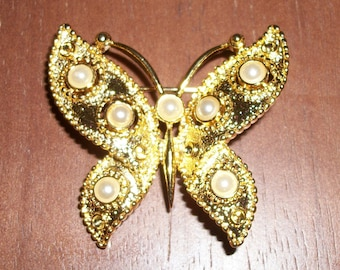 Vintage Gold-tone and Faux Pearl Butterfly Brooch/Pin