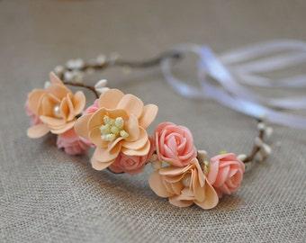 bohemian wedding wedding headpiece flower wedding flower crown hair wreath flower headband head piece wedding wreath rustic wedding crown