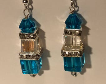 Blue Squared Dangle Earrings