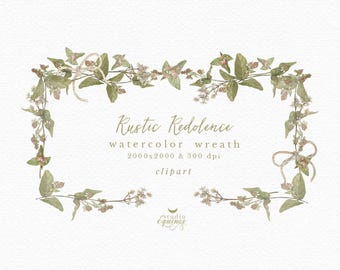 Watercolor Wreath Clipart, Berries Branch Wreath, Winter Wreath, Botanical Wreath, Botanical Clipart, Wedding Clipart, Blog Logo