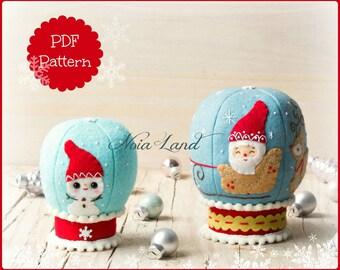 Snowglobes. PDF Pattern. Christmas Santa and Snowman snowglobes.