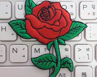 Rose Iron on Patch - Red Rose Applique Embroidered Iron on Patch