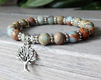 Tree of Life Bracelet, Tree of Life Jewelry, Nature Jewelry, Tree Jewelry, Blue Bracelet, Jasper Bracelet, Tree of Life, Beaded Bracelet