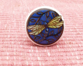 Blue Dragonfly Ceramic Knob