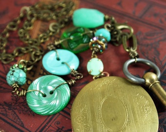 Vintage Upcycled Button Locket Necklace Repurposed Green and Turquoise Assemblage Jewelry