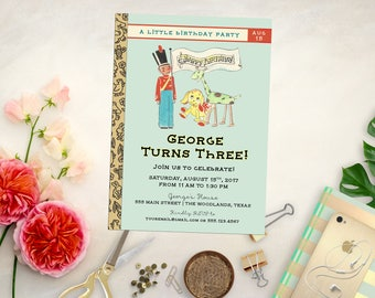 Vintage Book Birthday or Shower Invitation. Printable Build a Library Birthday Invite. Baby Shower Invites. Book Baby Shower. Book Birthday
