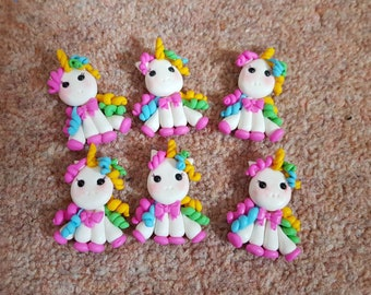 Unicorn set of 6  - - black hair - flat back - embellishment  - bow centre clay