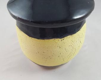 Lidded Jar, Storage Jar, Ceramic Jar, Ceramic Lidded Jar, Hippie Jar, Bathroom Storage Jar, Cotton Balls Jar