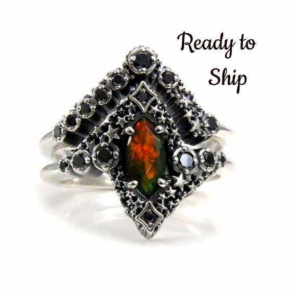 Ready to Ship Size 6 - 8 Black Opal Stardust Engagement Ring Set with Black Diamonds - Sterling Silver