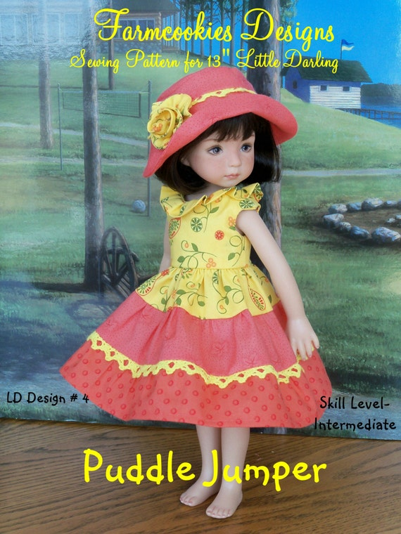 """Printed Sewing Pattern / Puddle Jumper / Sewing Pattern for  Dianna Effner's 13"""" Little Darling Dolls"""