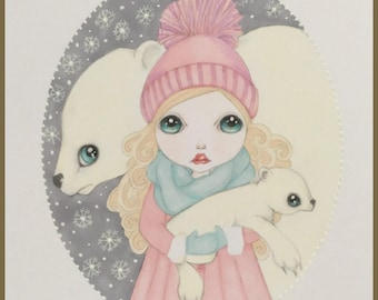Original art snowed in polar bears fantasy lowbrow art