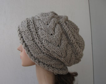 Knit Hat  Women Slouchy Hat Oversized Beanie  Light Grey Beret Free Shipping