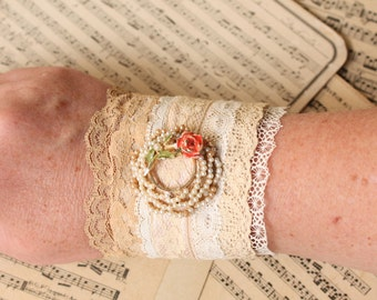 Vintage Lace Cuff 2 Recycled Romantic Boho Gypsy