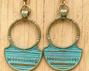Tibetan Jewellery Boho Bronze Circle Earrings with Tribal Aztec Pattern + Gift Pouch, Aztec Earrings, Bronze Earrings, Gift Earrings