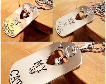 I Heart my Horse Dog or Cat large hand stamped dog tag necklace with heart charm custom sized chain too Pick your pet