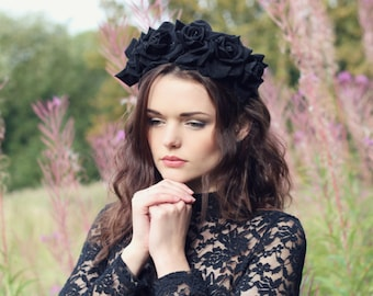 Black velvet flower hairband, flower crown, rose hairpiece, festival flowers