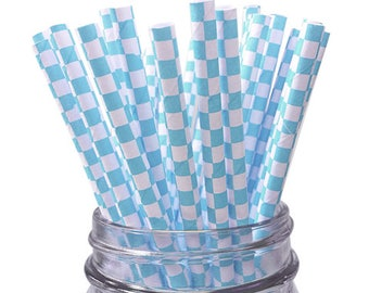 Light Blue Checkered 25pc Paper Straws