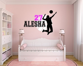 Charming Volleyball Wall Decal, Personalized Name Volleyball, Volleyball Decor,  Volleyball Team Player Decal,