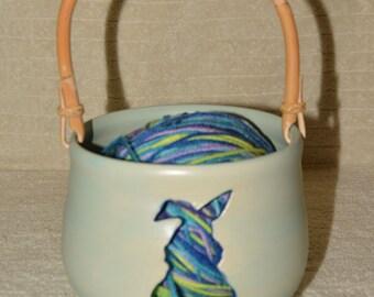 Bunny Yarn Bowl, Stoneware Yarn Bowl, Rabbit, Bamboo Handle, Removable Handle, Sea Mist, Blue, Yarn, Knitting, Crocheting,