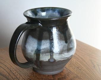 Large Black Clay Belly Mug - Greyscale layered glaze
