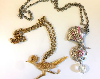 SALE Vintage 2 Necklaces Pendant Floral Romantic Boho Eclectic Pink Rhinestone Funky Resale Summer Lot Wholesale Silver Gold Crystal