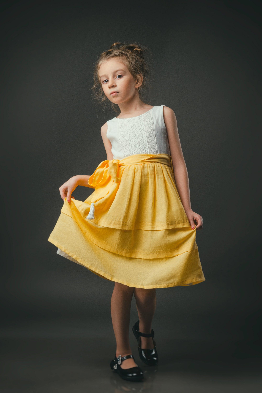 Yellow Linen Girl Dress Boho Chic Dress Baby Clothes Flower