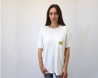 R.E.M. Out of Time Tee // vintage 1991 90s 1990s t shirt grunge band REM t-shirt cotton hipster boho white oversize alternative // O/S