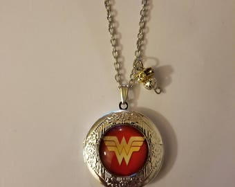 Handmade Wonder Woman Locket Necklace and Charm