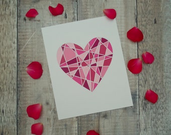 Pink Geometric Papercut Heart, Wall Art, Wall Decor,