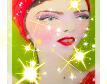 Retro Pin-Up Brunette  4x6 Holiday Greeting Card