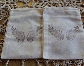 Set of 10 Hand stamped Angel Wings Muslin Party Favor Bags 100% organic made in america