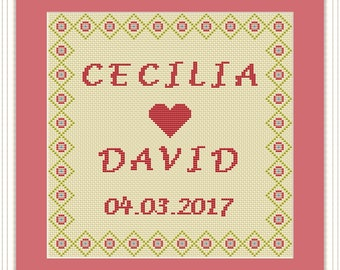 Wedding Gift Cross Stitch Pattern PDF